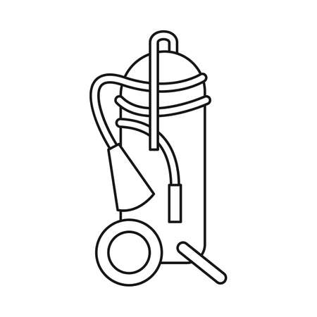 Vector illustration of extinguisher and extinguish icon. Collection of extinguisher and red vector icon for stock. Фото со стока