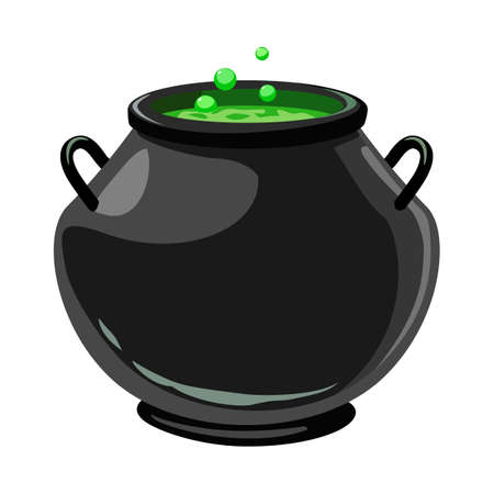Vector design of cauldron and potion icon. Graphic of cauldron and boiler vector icon for stock. Иллюстрация