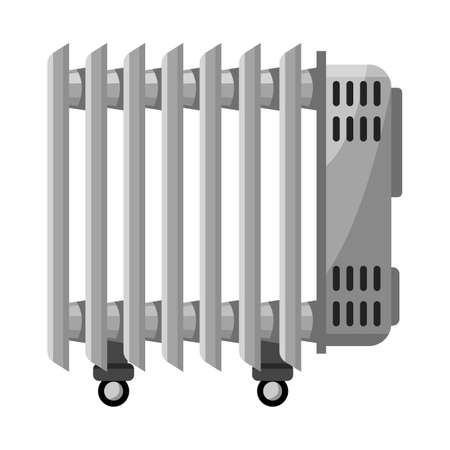 Vector design of heater and cooling sign. Web element of heater and radiator stock vector illustration. Иллюстрация