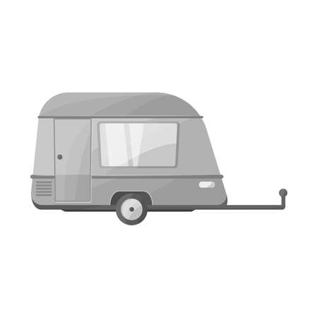 Vector illustration of trailer and vintage logo. Graphic of trailer and van stock symbol for web.