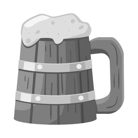 Isolated object of beer and mug sign. Graphic of beer and wood vector icon for stock.