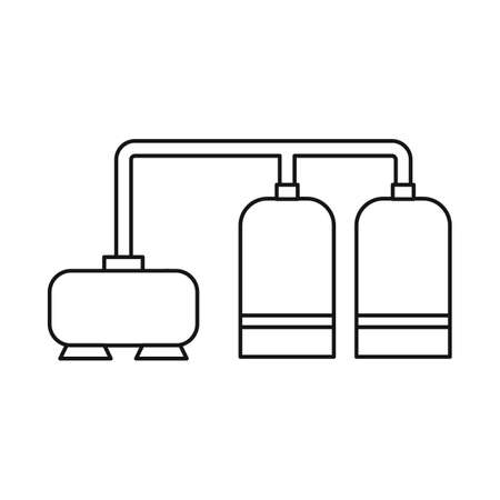 Vector illustration of manufactory and refinery icon. Set of manufactory and steel vector icon for stock.