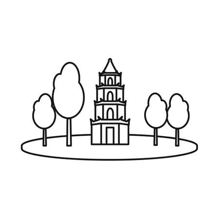 Isolated object of tower and vietnam icon. Set of tower and trees stock vector illustration.