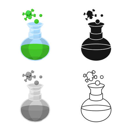 Vector illustration of flask and chemical sign. Graphic of flask and liquid stock symbol for web.