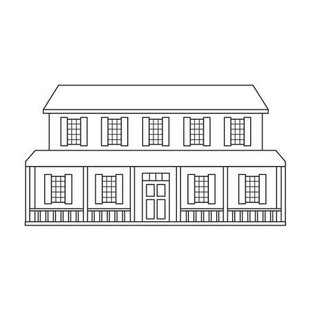 Wild west building vector icon.outline vector icon isolated on white background wild west building.