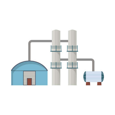 Isolated object of plant and economy icon. Set of plant and refinery machinery stock vector illustration.