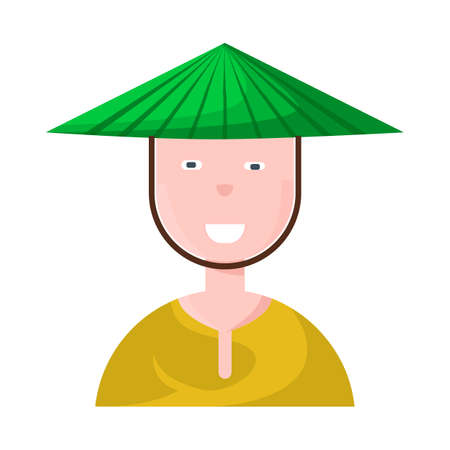 Isolated object of vietnamese and portrait symbol. Collection of vietnamese and costume stock vector illustration. Çizim