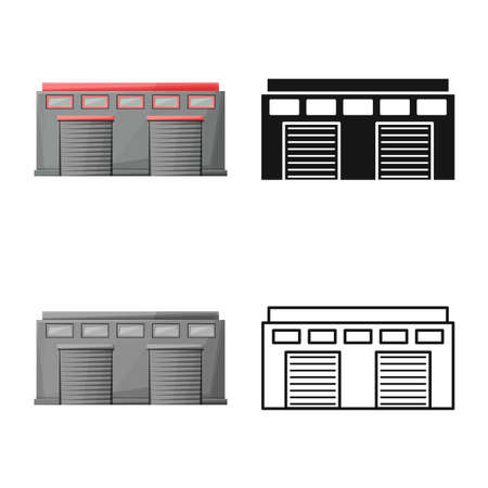 Vector illustration of warehouse and airport sign. Web element of warehouse and hangar vector icon for stock.