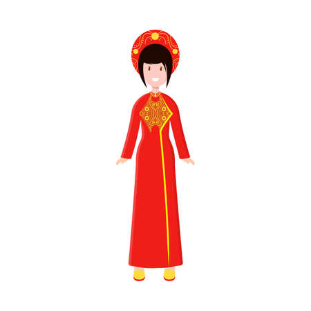 Vector illustration of vietnamese and woman icon. Collection of vietnamese and girl stock vector illustration. 일러스트