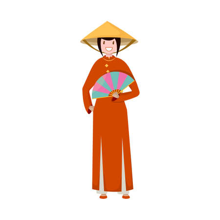 Isolated object of vietnamese and woman icon. Collection of vietnamese and girl vector icon for stock.