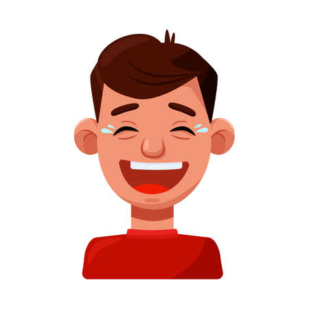Isolated object of guy and laugh icon. Set of guy and emotion vector icon for stock.