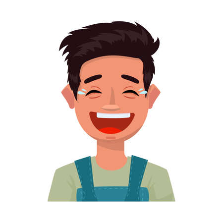 Vector illustration of guy and laugh sign. Collection of guy and emotion stock symbol for web.