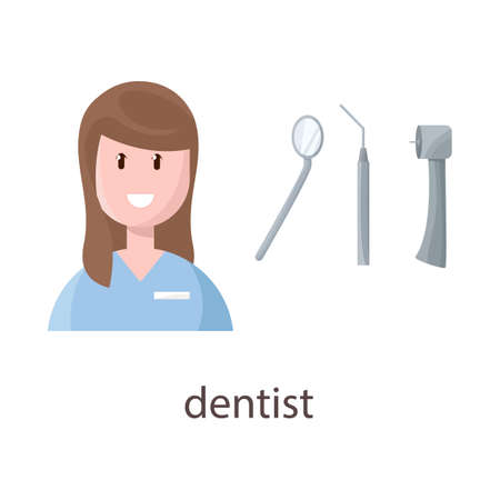 Vector design of dentist and woman sign. Collection of dentist and teeth vector icon for stock.