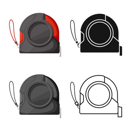 Vector illustration of roulette and tape icon. Graphic of roulette and measuring stock symbol for web.