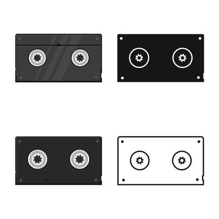 Vector illustration of videotape and reel symbol. Graphic of videotape and videocassette stock symbol for web.