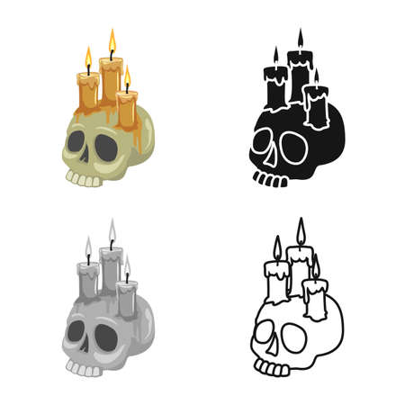 Vector design of skull and candle icon. Web element of skull and skeleton stock symbol for web. Çizim