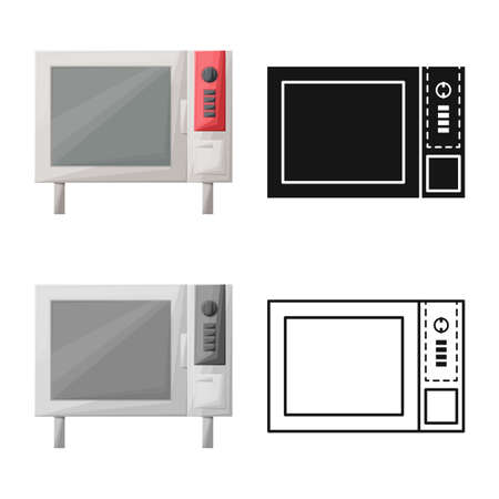 Vector design of oven and convection icon. Web element of oven and microwave vector icon for stock. 스톡 콘텐츠 - 158236681