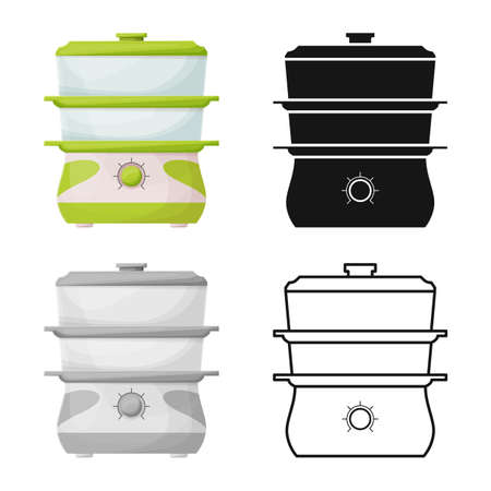 Isolated object of slow cooker icon. Web element of appliance stock vector illustration.