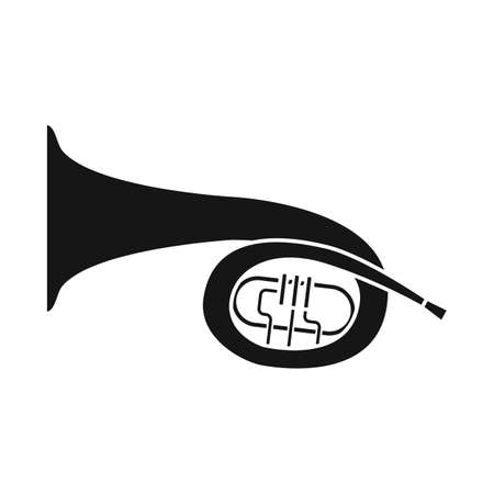 Vector illustration of bugle and trumpet sign. Web element of bugle and wind stock symbol for web. 일러스트