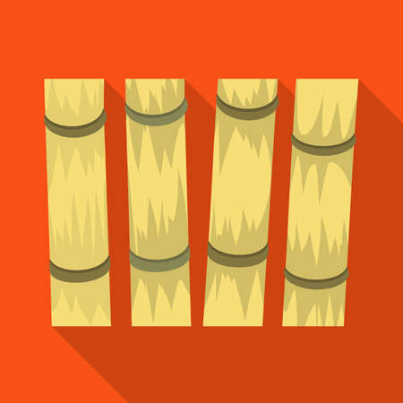 Vector illustration of sugarcane symbol. Graphic of cane and plant stock symbol for web. Çizim