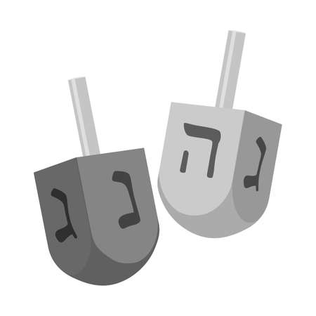 Vector design of dreidel and jewish sign. Graphic of dreidel and religion stock symbol for web.