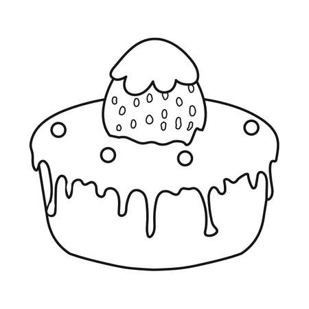 Vector illustration of birthday cake icon. Set of chocolate cake  stock symbol for web.