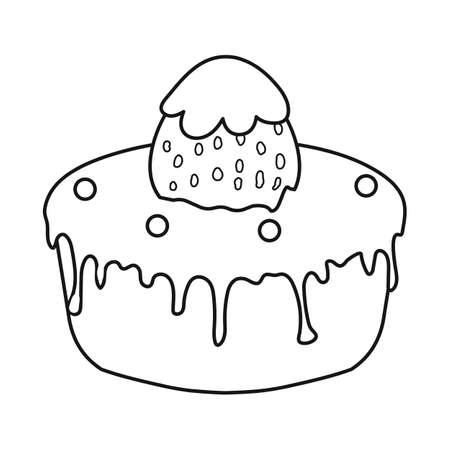 Vector illustration of birthday cake icon. Set of chocolate cake  stock symbol for web.