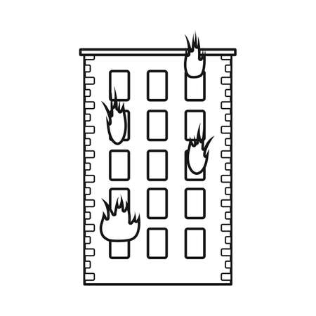 Isolated object of building and flame icon. Collection of building stock vector illustration. Çizim