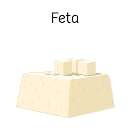 Vector design of cheese and feta icon. Graphic of cheese and piece stock symbol for web.