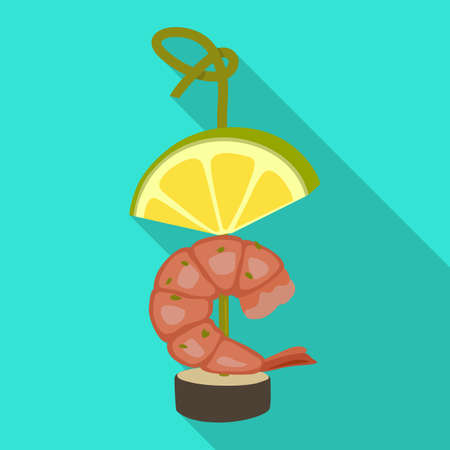 Canapes shrimp vector icon.Flat vector icon isolated on white background canapes shrimp.