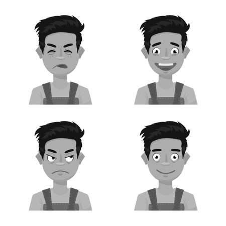 Vector design of face and boy sign. Collection of face and expression stock symbol for web. Ilustração