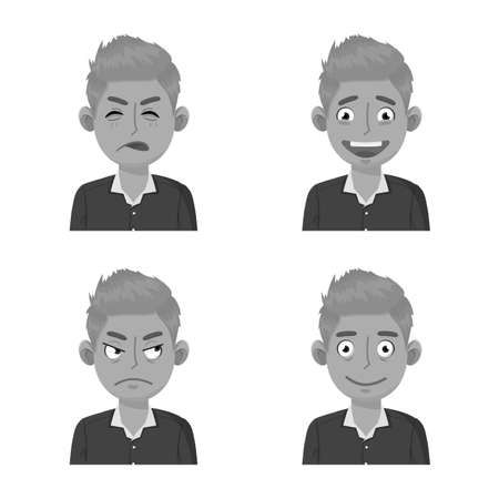 Vector design of face and boy icon. Collection of face and expression vector icon for stock. Ilustração