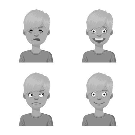 Isolated object of face and boy icon. Collection of face and young stock vector illustration. Ilustração