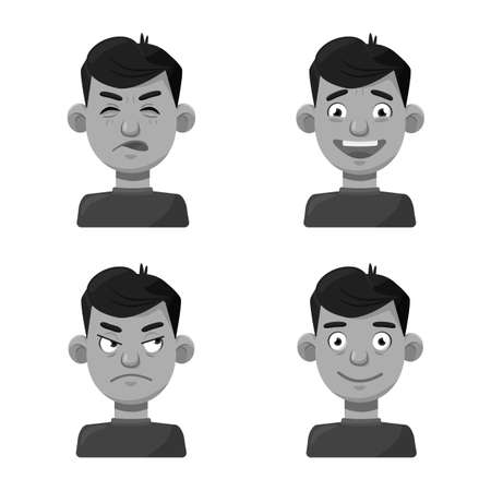 Vector design of face and boy symbol. Collection of face and feeling stock vector illustration. Ilustração