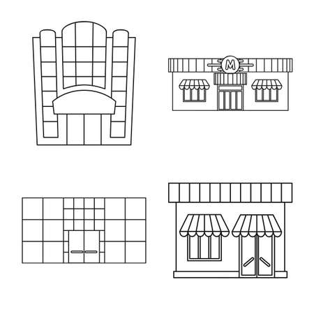 Vector illustration of supermarket and building. Set of supermarket and city stock symbol for web.