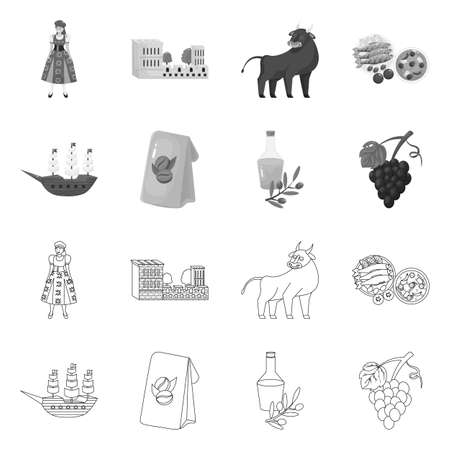 Isolated object of and historic symbol. Collection of and country vector icon for stock. Ilustração