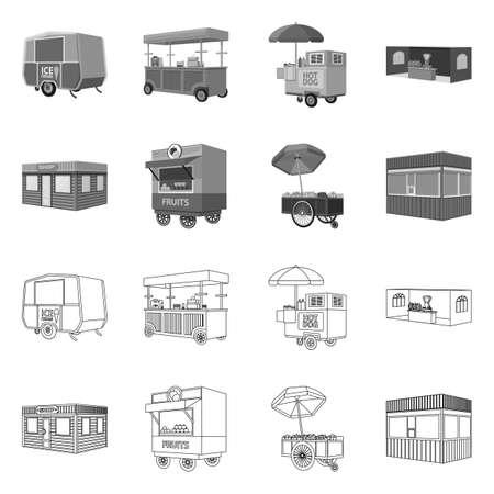 Vector illustration of marketing and tent sign. Collection of marketing and outdoor stock vector illustration. Ilustração
