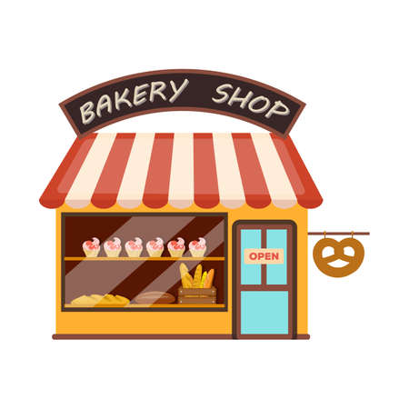 Vector illustration of shop and bread sign. Collection of shop and building vector icon for stock.