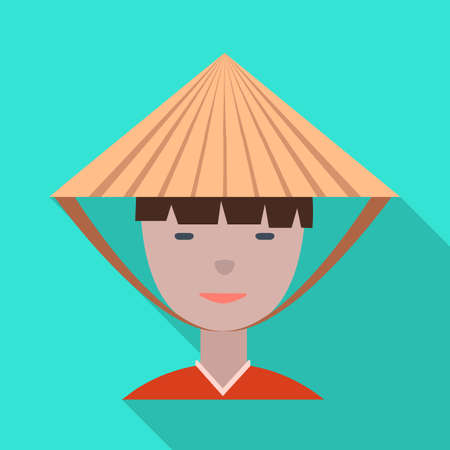 Vector illustration of vietnamese and portrait. Collection of vietnamese and costume stock symbol for web.
