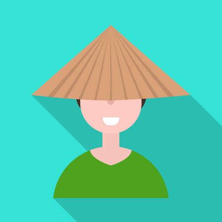 Vector design of vietnamese and portrait. Collection of vietnamese and costume vector icon for stock.
