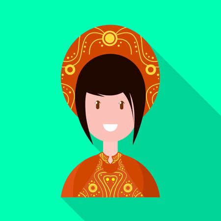 Vector illustration of vietnamese and woman. Set of vietnamese and girl stock vector illustration.