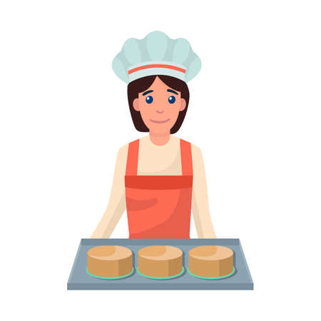 Vector illustration of table and cake. Set of table and woman stock symbol for web.