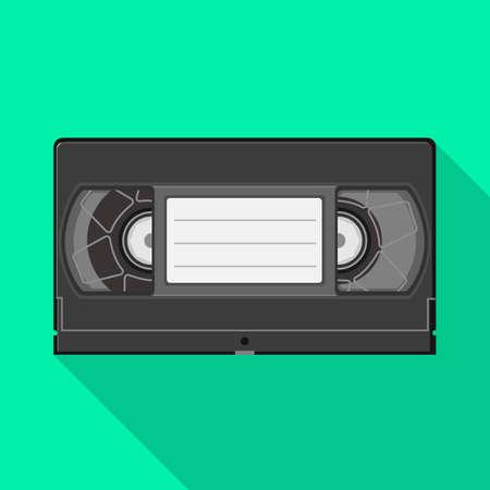Vector design of videotape and videocassette. Web element of videotape and reel stock vector illustration. Ilustração