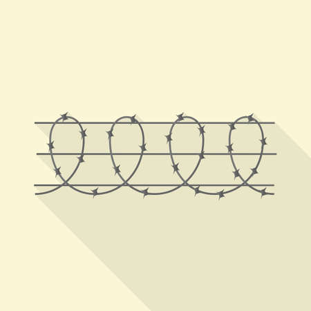 Vector design of barbwire and wire. Web element of barbwire and fence stock vector illustration.