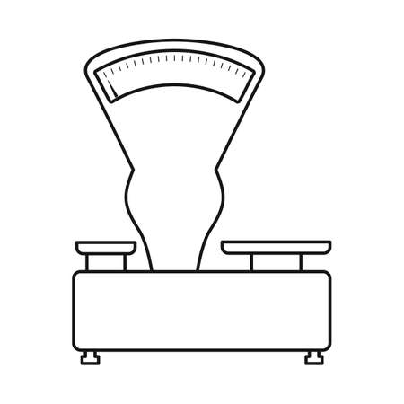 Vector design of scales and mechanical. Graphic of scales and kitchenware stock vector illustration. Ilustração