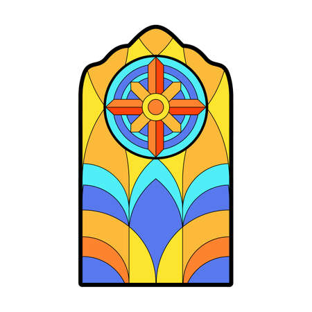 Glass vector cartoon icon. Vector illustration glass window on white background. Isolated cartoon illustration icon of window church. Vector Illustration