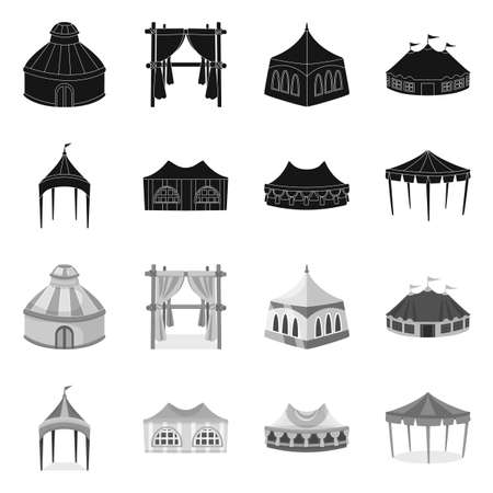 Vector design of roof and folding . Collection of roof and architecture stock vector illustration.