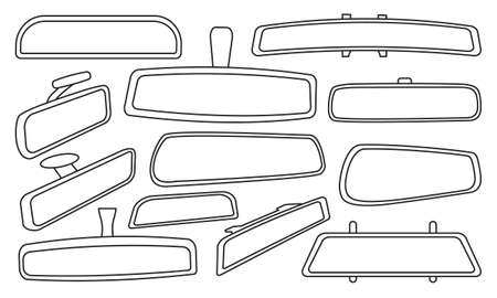 Rear view mirrors isolated outline set icon. Vector outline set icon rearview . Vector illustration rear view mirrors on white background.