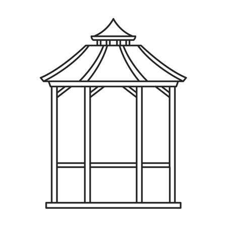 Gazebo wooden vector outline icon. Vector illustration gazebo wooden on white background. Isolated outline illustration icon of pergola. Ilustración de vector