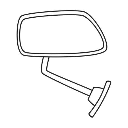 Mirror side car vector outline icon. Vector illustration mirror side car on white background. Isolated outline illustration icon of auto glass.